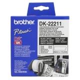 Etikett BROTHER løpende 29mmx15,24m hvit